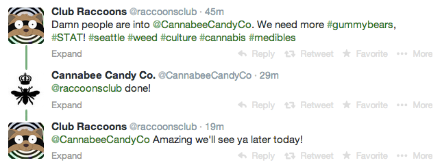 club raccoons cannabee candy twitter exchange