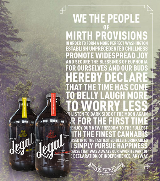 Legal cannabis infused sodas and cold brews by Myrth Provisions