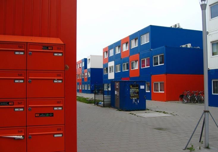 Student housing made out of shipping containers.