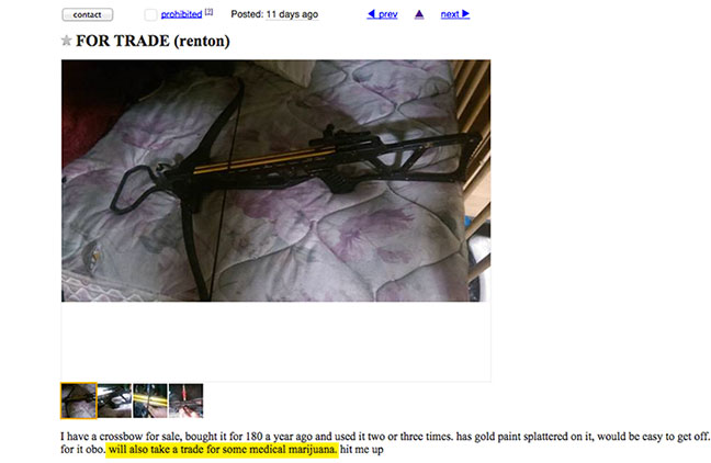 Crossbow for marijuana on Craigslist