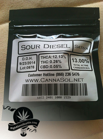 CannaSol Farms Sour Diesel Packaging Back