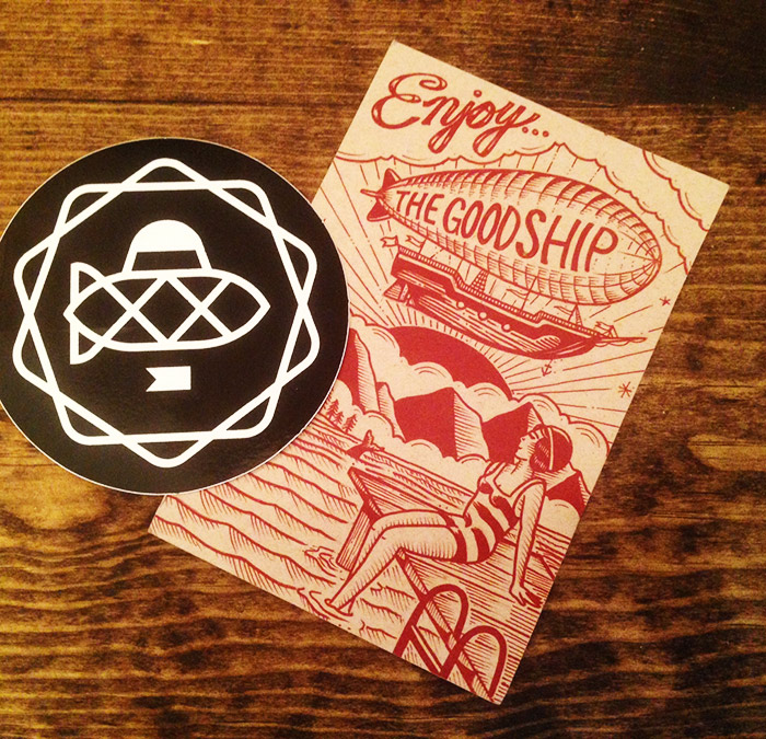 Goodship post card and sticker