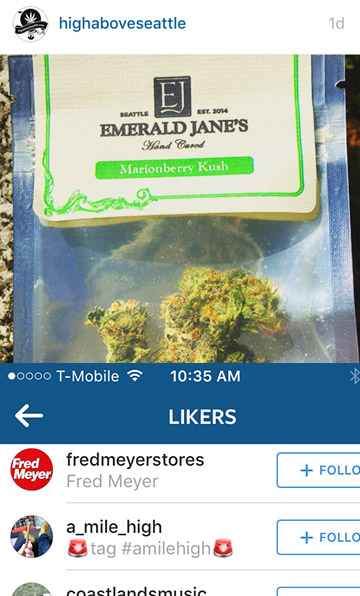 "Fred Meyer Stores ""Likes"" marijuana photo"