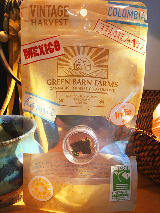 Green Barn Farms marijuana review blueberry kush hash